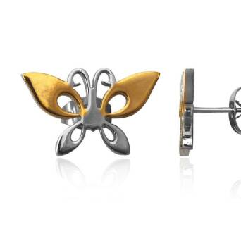 Earrings Steel Butterfly Gold Plated
