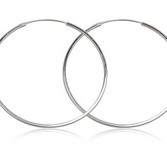 Silver earrings large hoops 6 cm