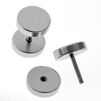 Steel earrings man Fake Plug 8 mm