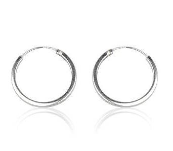 Silver earrings hoops 2 cm