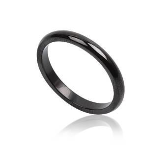 Steel ring for man black narrow 3 mm