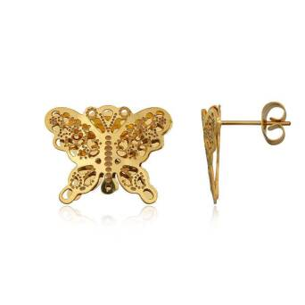 Earrings Steel Butterflies goldplated
