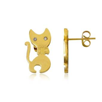Earrings Steel Cats with Ribbon Gold Plated