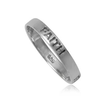 Ring silver for woman narrow engraved FAITH