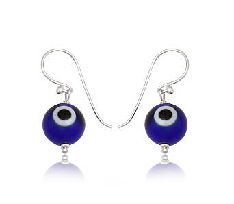 Earrings silver Evil Eye navy blue