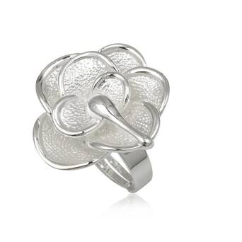 Fashion ring White Enamel Flower 3D