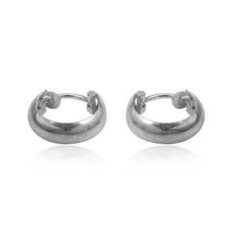 Earrings silver hoops small halfround