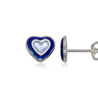 Silver earrings for girl blue hearts