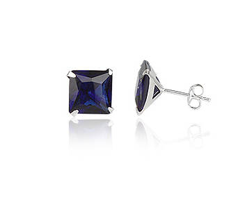 Silver earrings CZ square 8 mm navy blue