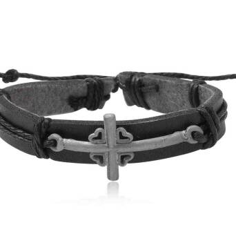 Leather bracelet black with cross