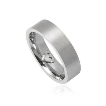 Steel ring for man wide 6 mm with Heart