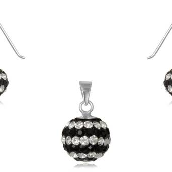 Set silver balls Swarovski black and white