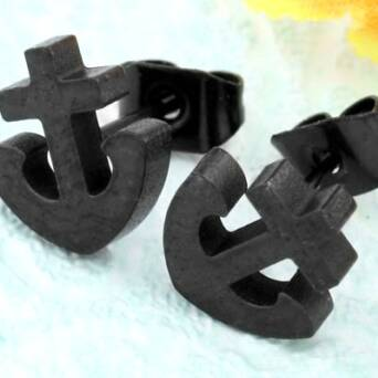 Steel earrings man stud Anchor black