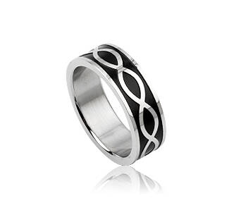 Ring man stainless steel black pattern