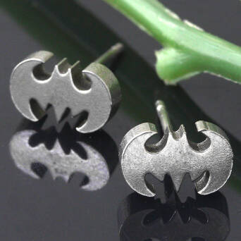 Steel earrings man stud Bat