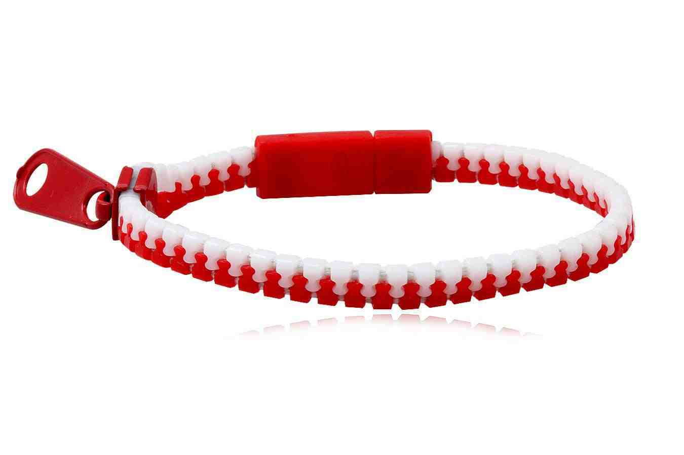 Bracelet fashion Zipper red-white