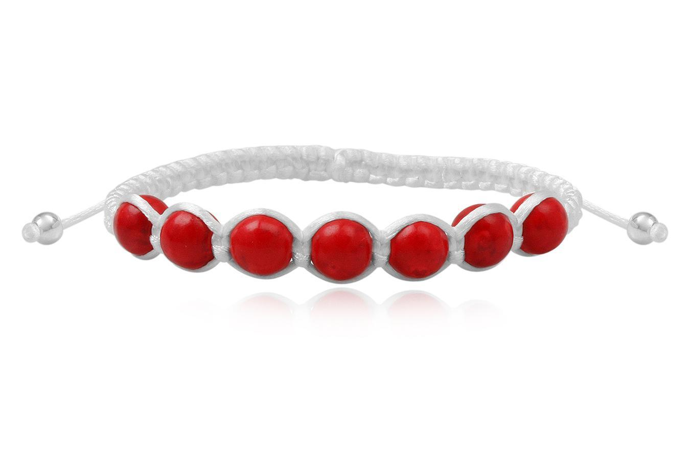 Bracelete Shamballa white with Coral