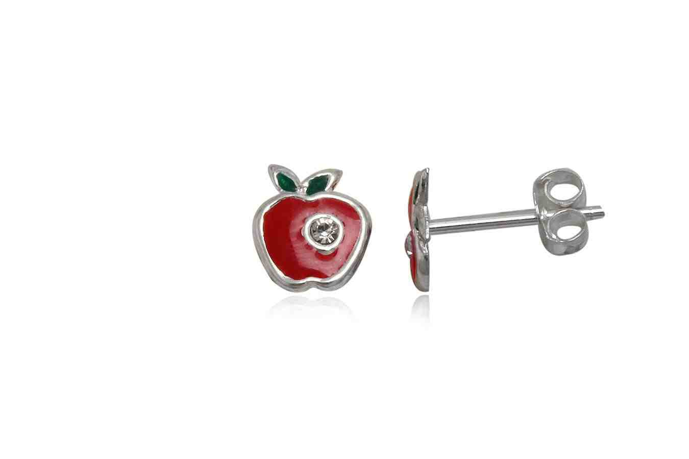 Silver earrings for girl red apple