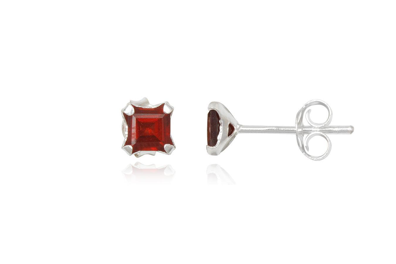 Silver earrings red garnet square