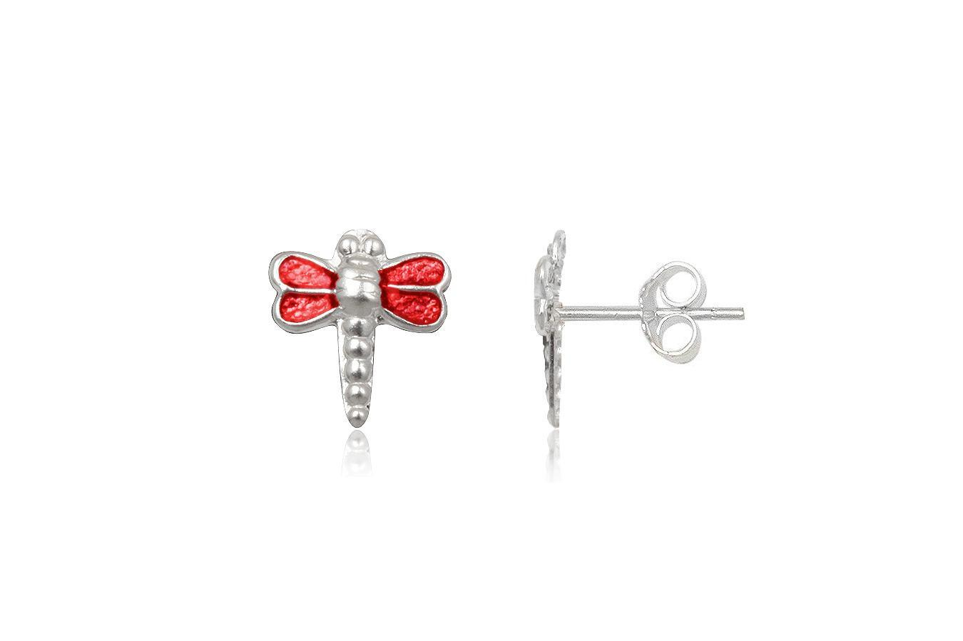 Silver earrings for children red Dragonfly